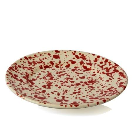 Piatto Piano Screziato Rosso 24 cm