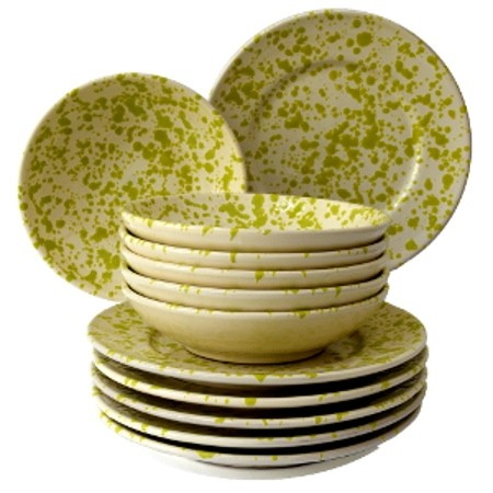 Set da Tavola in Terracotta, Ciotola Screziato Verde 12 pz