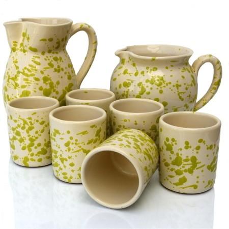 Set Brocche e Bicchieri Screziato Verde