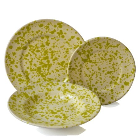 Set da Tavola in Terracotta, Screziato Verde 18 pz