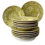 Set da Tavola in Terracotta, Screziato Verde 12 pz