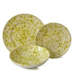 Set da Tavola in Terracotta, Ciotola Screziato Verde 18 pz