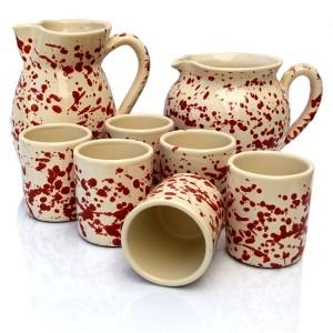 Set Brocche e Bicchieri Screziato Rosso